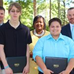 Pictured from left to right are BCC Vice President for Student Services Barry Priest, scholarship winner James Hunsinger, BCC Associate Vice President for Academic Services Cynthia McKoy, scholarship winner Taylor Mayers, and SECU Vice President and Branch Manager Rian Collins.