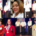 Collage of twelve winning students during presentation of medals